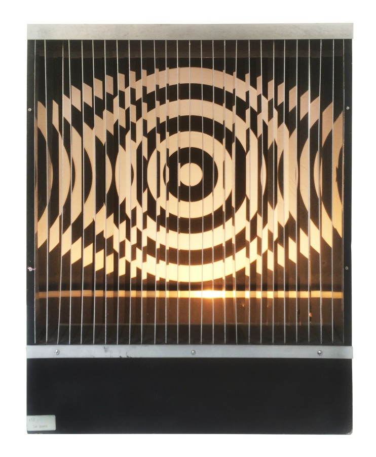 "<p><span class=""artist""><strong>JULIO LE PARC</strong></span>, <span class=""title""><em>Untitled</em>, 1967</span></p><div class=""medium"">Wood, aluminium and plexi light</div><div class=""dimensions"">52 x 42 x 20 cm<br />20 1/2 x 16 1/3 x 7 7/8 inches</div><div class=""edition_details"">Edition 18/200</div><div class=""edition_details"">SOLD</div>"