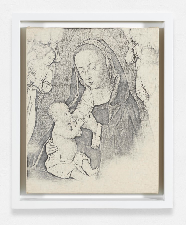 """<p><span class=""""artist""""><strong>BILLY APPLE</strong></span>, <span class=""""title""""><em>Madonna & Child</em>, 1964</span></p><div class=""""medium"""">Xeroxed primed linen mounted on wood stretchers</div><div class=""""dimensions"""">25.4 x 20.3 cm<br />10 x 8 inches</div>"""