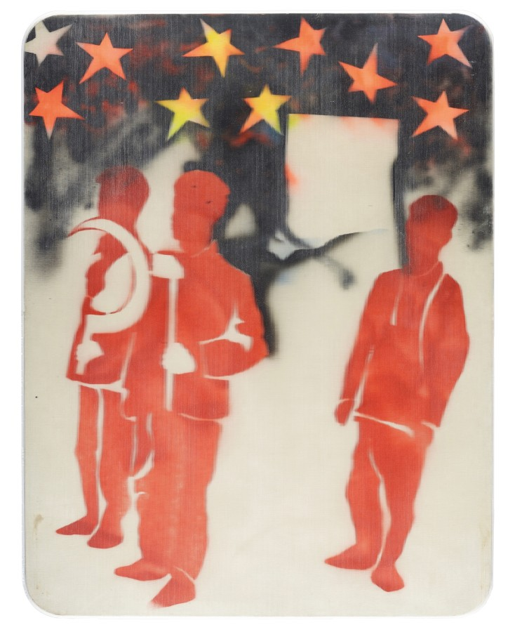 """<p><span class=""""artist""""><strong>MARIO SCHIFANO</strong></span>, <span class=""""title""""><em>Compagni, compagni</em>, 1968</span></p><div class=""""medium"""">Enamel and spray paint on canvas and Perspex</div><div class=""""dimensions"""">131 x 101 cm<br />51 ⅝ x 39 ¾ inches</div>"""