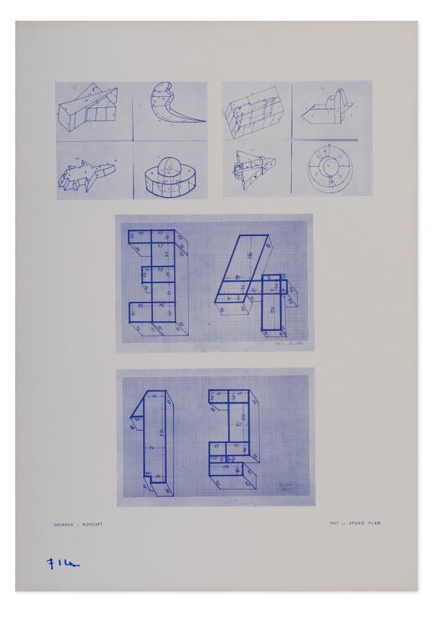 "<span class=""artist""><strong>STANO FILKO</strong></span>, <span class=""title""><em>Seats - Concept</em>, 1967</span>"