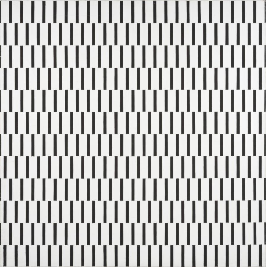 """<p><span class=""""artist""""><strong>FRANCOIS MORELLET</strong></span></p><p><span class=""""title""""><em>Une trame de tirets décalée à 90º</em>, 1970</span></p><div class=""""medium"""">Silkscreen on canvas</div><div class=""""dimensions"""">100 x 100 cm<br />39 3/8 x 39 3/8 inches</div>"""
