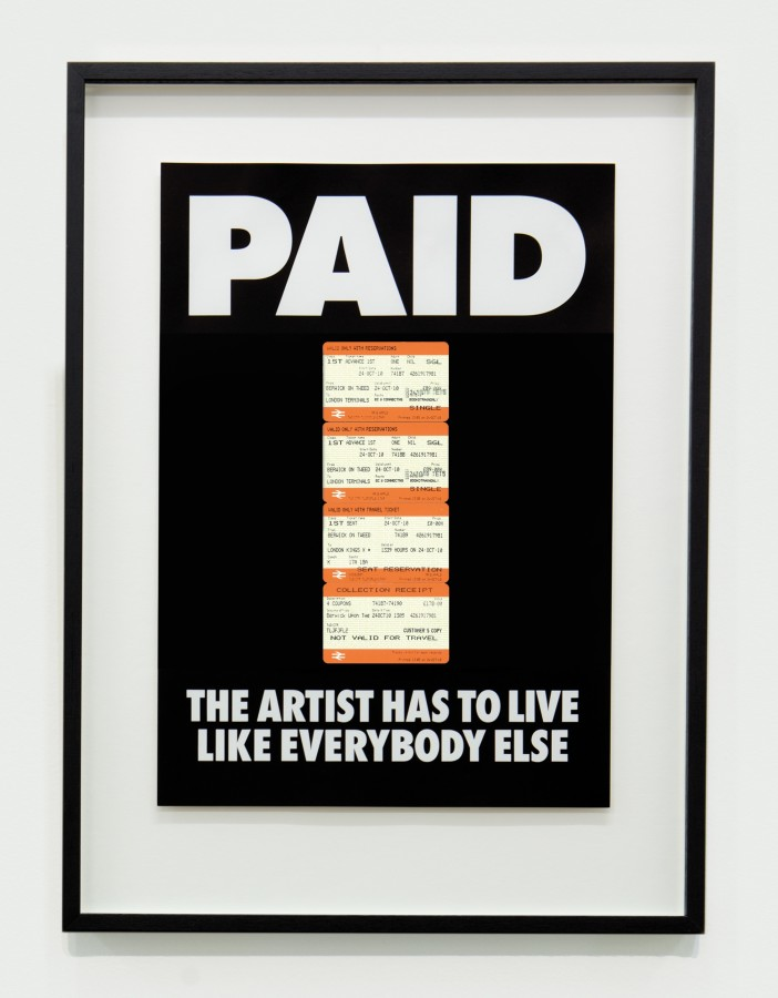 "<span class=""artist""><strong>BILLY APPLE</strong></span>, <span class=""title""><em>PAID: The Artist Has to Live Like Everybody Else, 4 x British Rail tickets: £178 Berwick on Tweed to Kings X London 24 Oct 2010</em>, 1987 / 2018</span>"