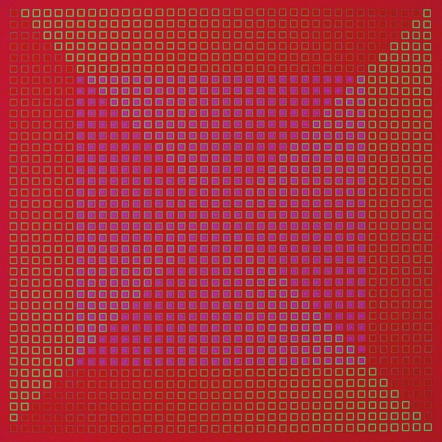 "<p><span class=""artist""><strong>JULIAN STAŃCZAK</strong></span>, <span class=""title""><em>Centred Duality - Red</em>, 1981-82</span></p><div class=""medium"">Acrylic on canvas</div><div class=""dimensions"">76 x 76 cm<br />29 ⅞ x 29 ⅞ inches</div>"