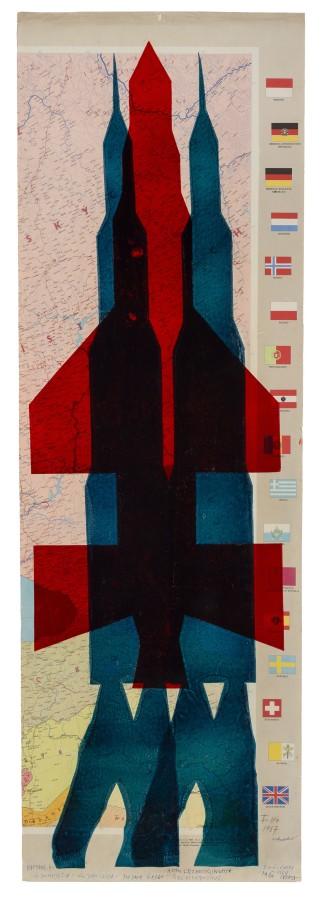 "<span class=""artist""><strong>STANO FILKO</strong></span>, <span class=""title""><em>Map of Europe (Rockets)</em>, 1967</span>"