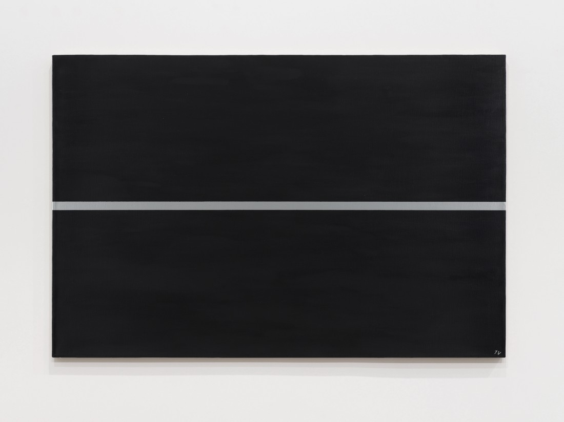 "<div class=""title""><em>Silver line on a black surface</em>, 1964‒1997</div><div class=""medium"">Oil and acrylic on canvas</div><div class=""dimensions"">80 x 120 cm<br />31 ½ x 47 ¼ inches</div>"
