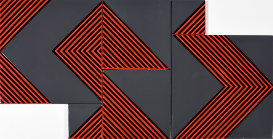 "<p><span class=""artist""><strong>KÁLMÁN SZIJÁRTÓ</strong></span>, <span class=""title""><em>Untitled (Grey-Red)</em>, 1970</span></p><div class=""medium"">Enamel on iron plate</div><div class=""dimensions"">60 x 120 cm<br />23 ½ x 47 ¼ inches</div>"
