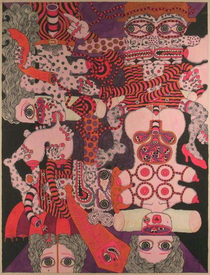 <p><strong>KEY HIRAGA</strong></p><p><em>The Elegant Life of Mr H</em>, 1971</p><p>Gouache on paper</p><p>66 x 50 cm</p><p>(26 x 19 3/4 in)</p><p>£10,000</p>