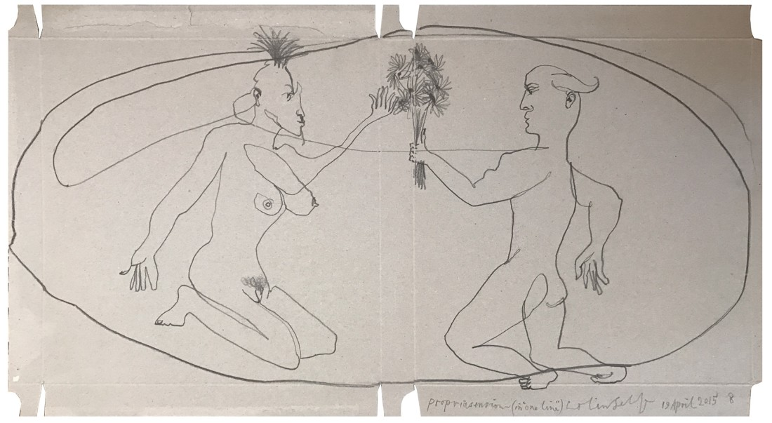 """<p><strong>COLIN</strong> <strong>SELF</strong></p><p><em>Propriasension (No.8) Kneeling man offering flowers to a kneeling circus woman</em>, 2015</p><p>Graphite on card</p><p>58 x 31 cm</p><p>(22 9/8 x 12 1/4 in)</p><p>£4,000</p><style type=""""text/css""""><!--p.p1 {margin: 0.0px 0.0px 0.0px 0.0px; font: 11.0px Arial; color: #000000}--></style>"""