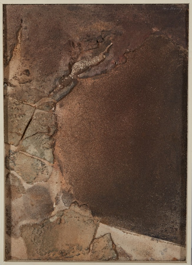 "<p><span class=""artist""><strong>ROBERT MALLARY</strong></span>, <span class=""title""><em>Seascape</em>, 1957-1958</span></p><div class=""medium"">Mixed media: Resin and sand mix on wooden panel with an artist made wooden frame</div><div class=""dimensions"">25 ½ x 18 ½ x 2 ¼ in<br />64.5 x 47 x 5.5 cm</div>"