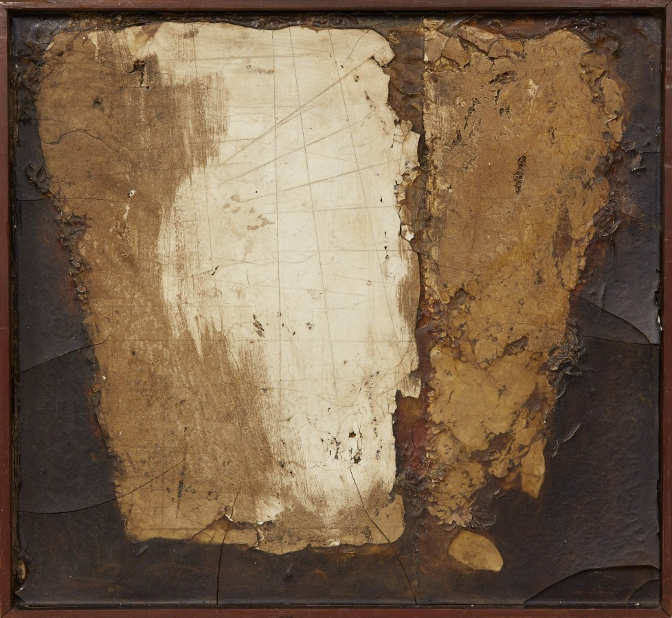 "<p><span class=""artist""><strong>ROBERT MALLARY</strong></span>, <span class=""title""><em>Suspended forms</em>, 1957</span></p><div class=""medium"">Mixed media: Found materials and resin with an artist made wooden frame</div><div class=""dimensions"">18 x 19 ½ x 2 ½ in<br />45.8 x 49.5 x 6.4 cm</div>"