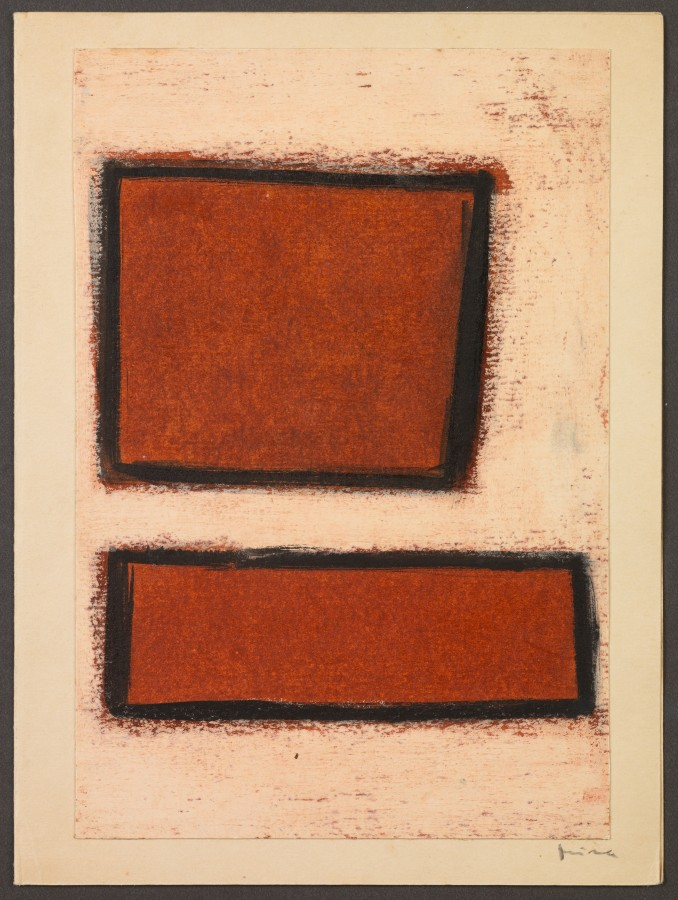 """<p><span class=""""artist""""><strong>MIRA SCHENDEL</strong></span>, <span class=""""title""""><em>Untitled</em>, Early 1960s</span></p><div class=""""medium"""">Oil stick on paper</div><div class=""""dimensions"""">19 x 14 cm<br />(7 1/2 x 5 1/2 inches)</div>"""