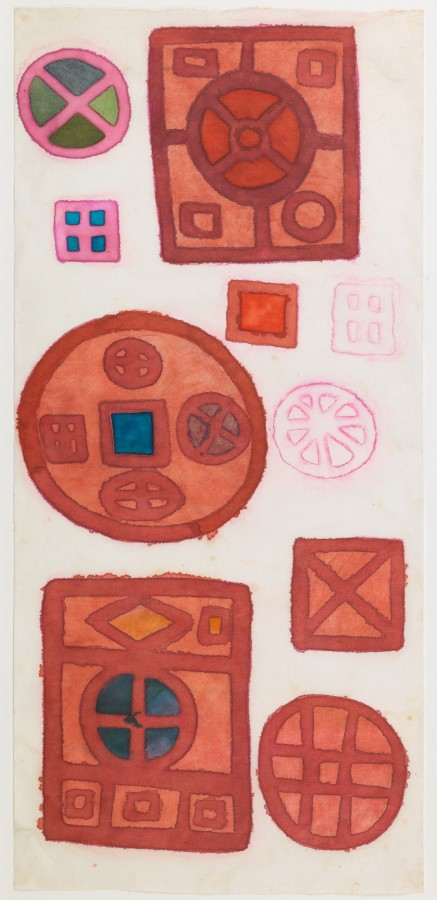 """<p><span class=""""artist""""><strong>MIRA SCHENDEL</strong></span>, <span class=""""title""""><em>Untitled (Mandalas series)</em>, c.1970s</span></p><div class=""""medium"""">Ink and watercolour on paper</div><div class=""""dimensions"""">55 x 25 cm<br />(21 5/8 x 9 3/5 inches)</div>"""