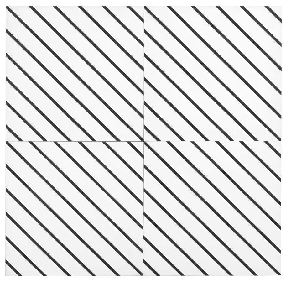 """<p class=""""artist""""><strong><span class=""""artist"""">FRANCOIS MORELLET</span></strong></p><p class=""""artist""""><em>1 simple trame 45° coupée, décalée</em>, 1973</p><p class=""""medium"""">Silkscreen on panel</p><p class=""""dimensions"""">80 x 80 cm<br />31 ½ x 31 ½ inches</p>"""