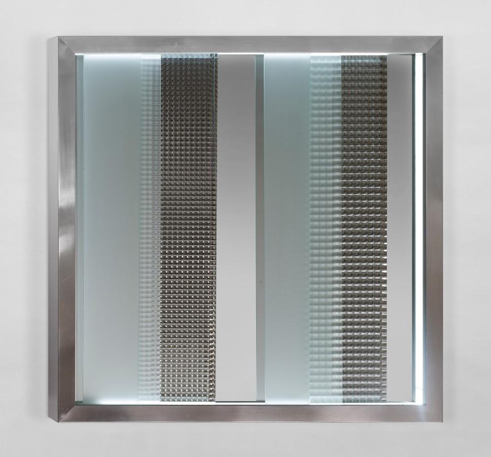 "<p><span class=""artist""><strong>NANDA VIGO</strong></span>, <span class=""title""><em>Cronotopo (N.773)</em>, 1967</span></p><div class=""medium"">Aluminum, glass and neon</div><div class=""dimensions"">100 x 100 x 10 cm<br />39 3/8 x 39 3/8 x 4 inches</div>"