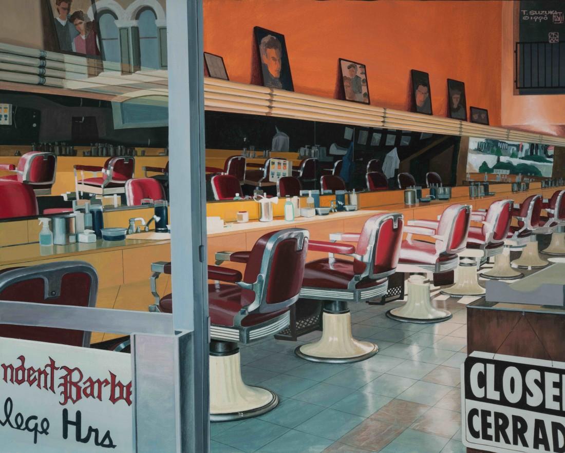Tad Suzuki Barbershop at Sunset (San Diego) Acrylic on canvas 61 x 76 cm