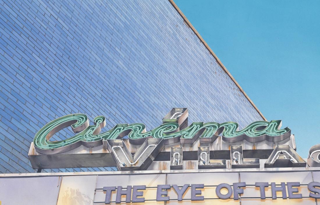 Denis Ryan Greenwich Village Cinema, NY Acrylic on paper 40 x 61 cm