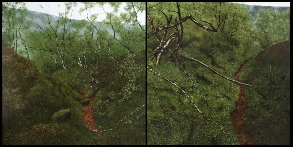 Paul De Roy Path to Silfarcanyon diptych oil on canvas 80 x 160 cm