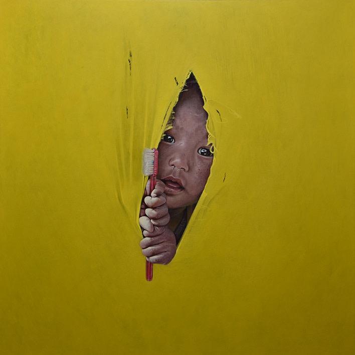 Scott Simpson Portrait in Yellow Acrylic on panel 50 x 50 cm