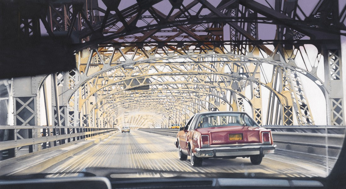 Denis Ryan Queensborough Bridge Acrylic on paper 30 x 54 cm