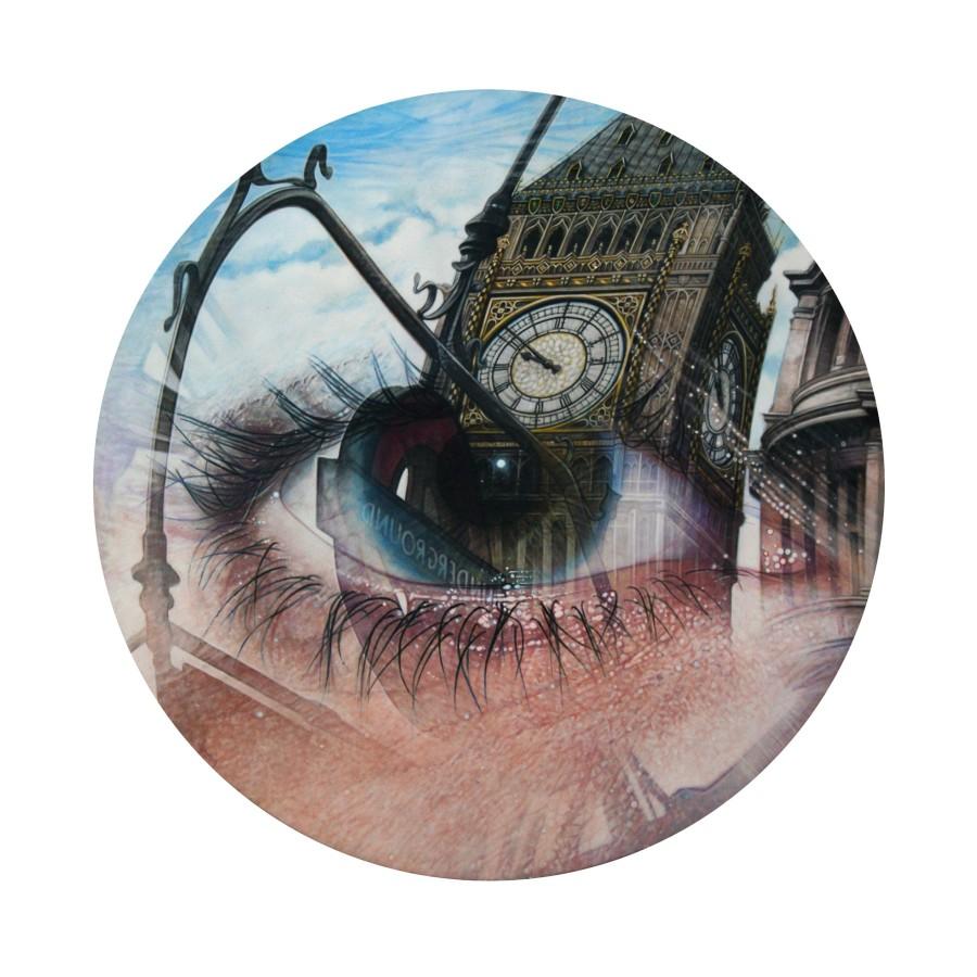Simon Hennessey The London Eye acrylic on board 40 diameter cm
