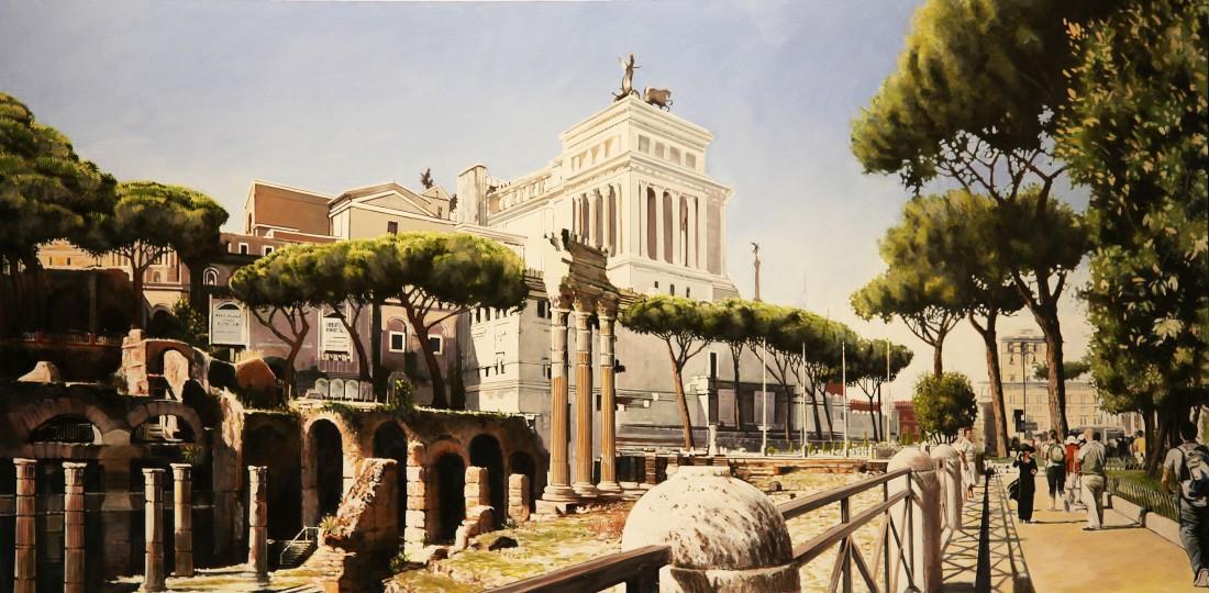 Peter Rocklin Via Dei Fori Imperiali, Rome Oil on board 50 x 100 cm