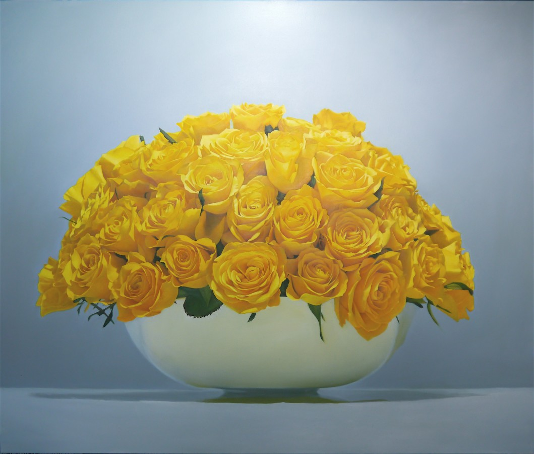 Sarah Sibley Yellow Roses oil on linen 100 x 120 cm