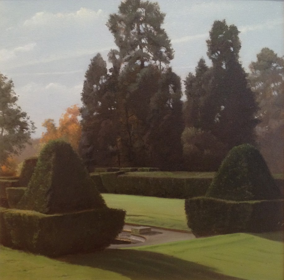 "Carl Laubin ""Putteridge Bury Topiary"" 41 x 41 cm Oil on canvas"