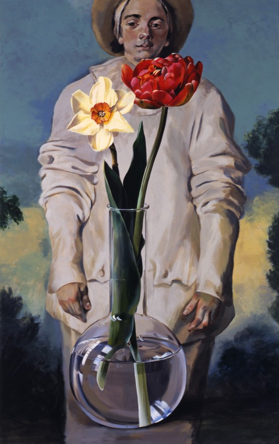 "Ben Schonzeit ""Gilles and Two Flowers"" 168 x 107 cm Acrylic on Linen"