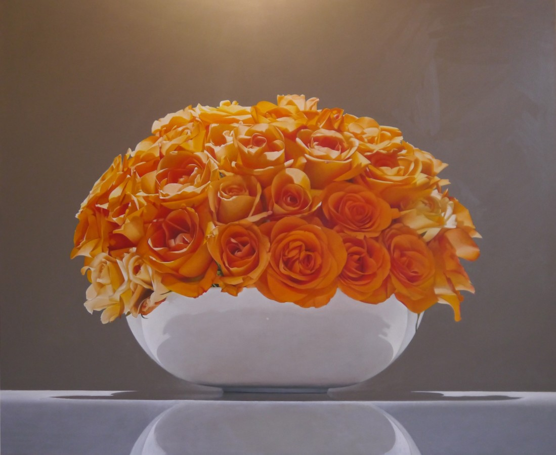 "Sarah Sibley ""Orange Roses"" 100 x 120 cm Oil on linen"