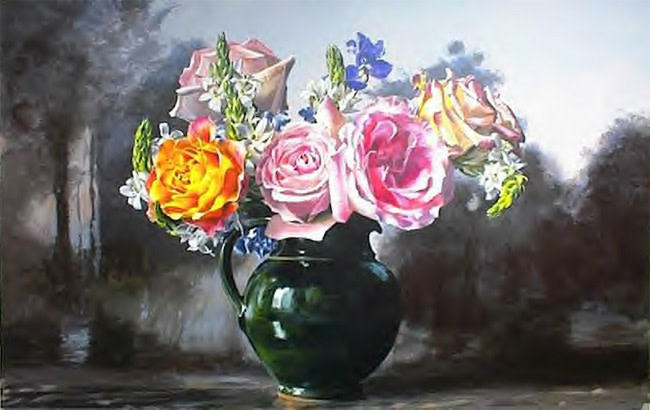 "Ben Schonzeit ""Roses in Green Pitcher"" 86.5 x 137 cm Acrylic on Linen"