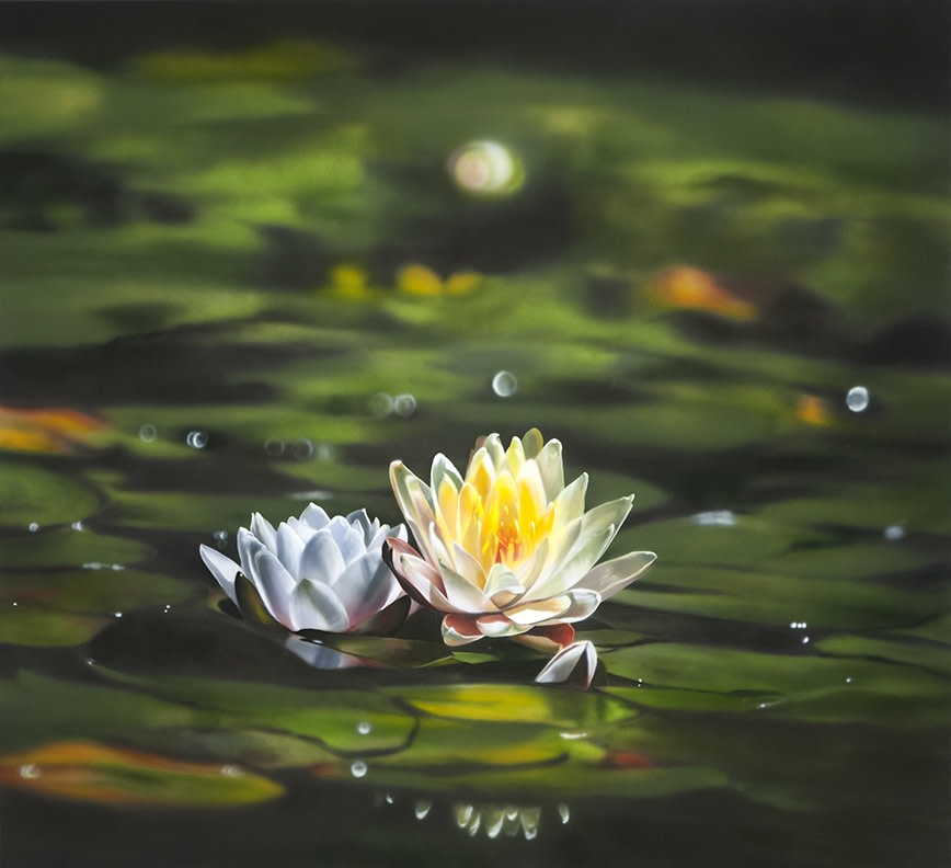 "Ben Schonzeit ""Water Lily"" 112 x 122 cm Acrylic on polyester"