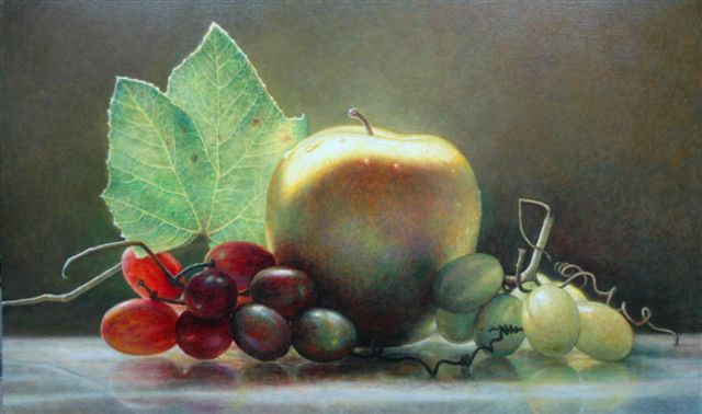 James Del Grosso Bridgehampton Apple Oil on canvas 71 x 117 cm