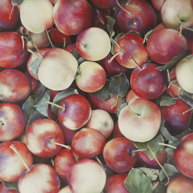 Ben Schonzeit Lady Apples Acrylic on polyester 84 x 84 cm