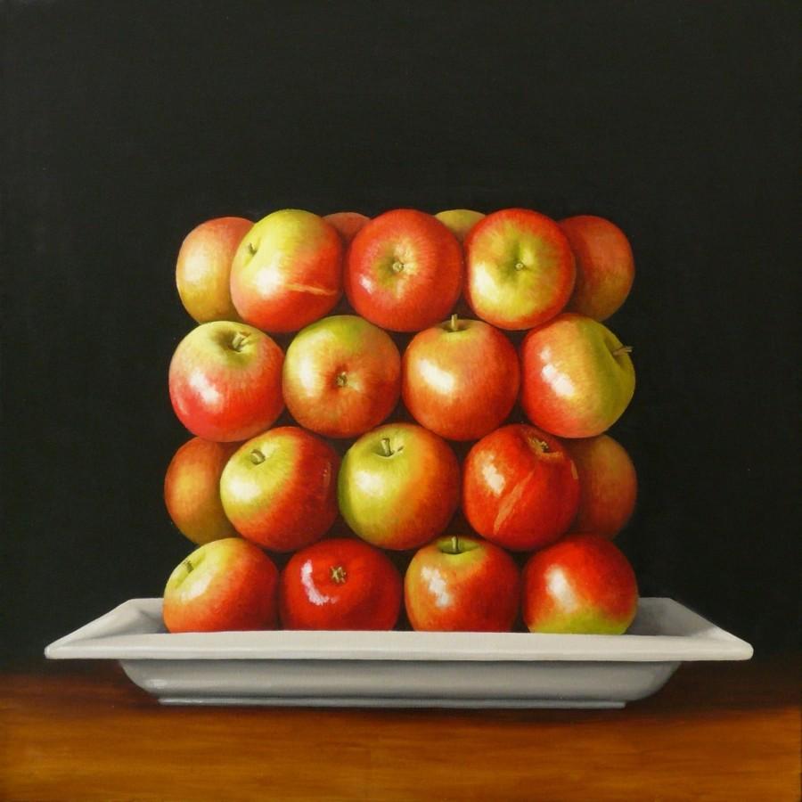 Antonia Williams Red Square Apples Oil on canvas 76 x 76 cm