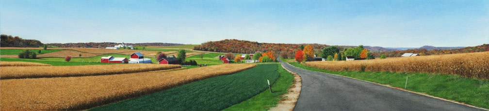 "Steven Kozar ""Autumn Morning Drive"" Watercolour on paper 14 x 60 cm"