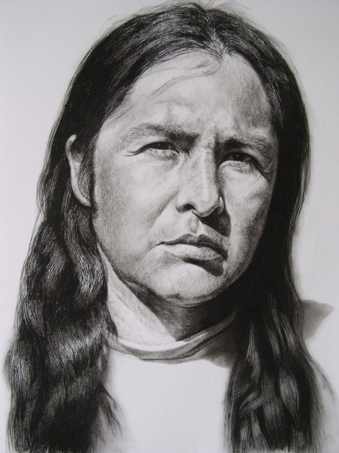 "Andrew Tift ""Deryl Luijan (taos Pueblo)"" Charcoal, carbon graphite on paper 58.5 x 48 cm"