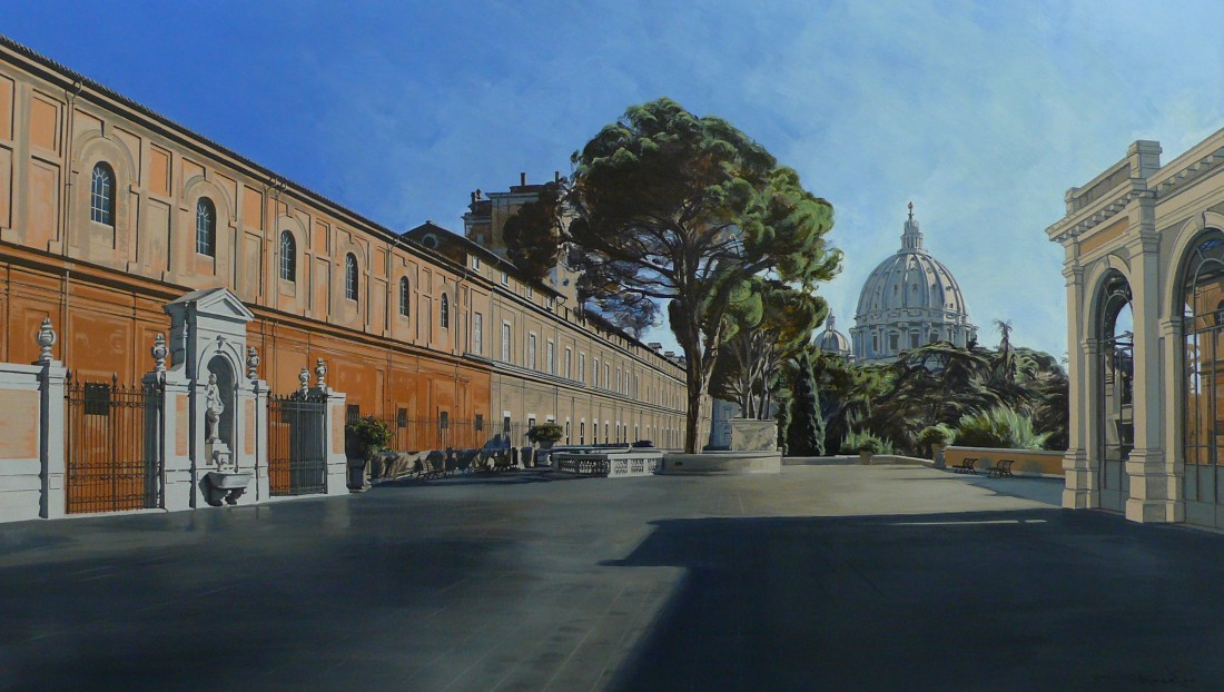 "David Wheeler ""Study: Evening Light (Vatican City, Rome) Acrylic on paper 43 x 76 cm"