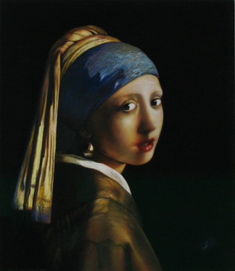 "Andrew Hemingway ""Girl With The Pearl Earring After Vermeer"" Pastel on paper 46 x 39 cm"