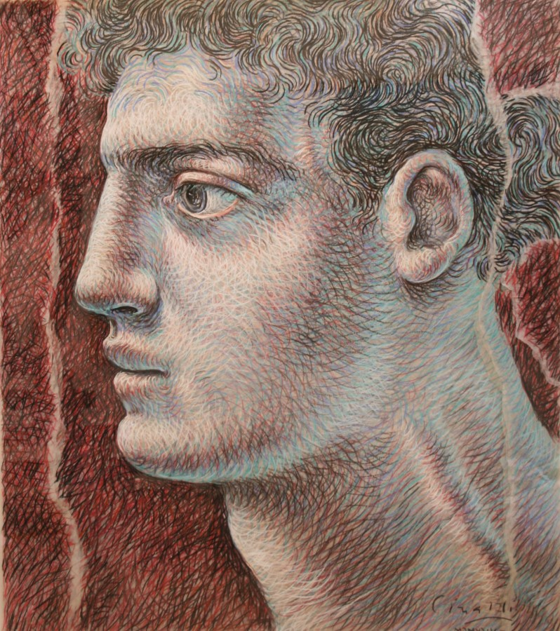 "Ricardo Cinalli ""Head, 1994"" 98 x 85 cm Pencil on tissue paper layers"