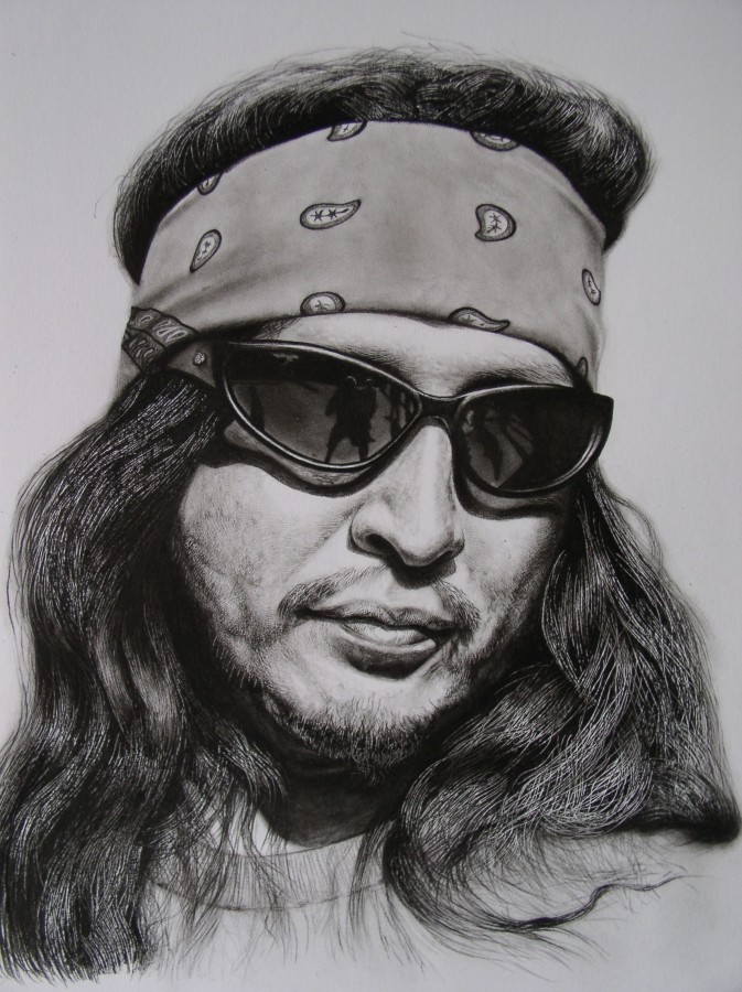 "Andrew Tift ""Hispanic Motorcycle Gang Member"" Charcoal and carbon graphite on paper 58 x 48 cm"