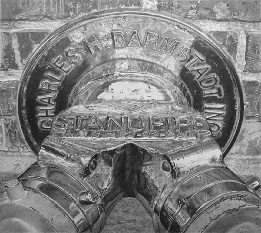 """Roger Watt """"Hydrant"""" Graphite of Bristol board 22 x 24 cm"""