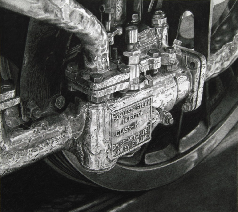"Roger Watt ""Injector"" Graphite on paper 23 x 25.5 cm"