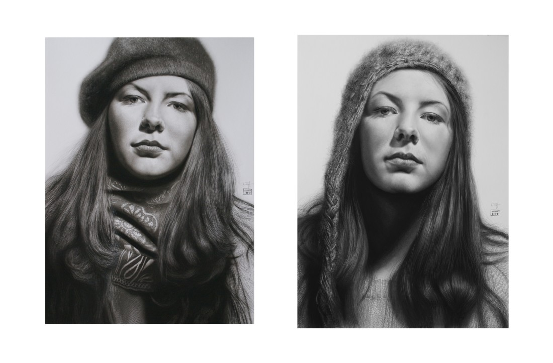 "Andrew Tift ""Katy"" Charcoal, carbon, graphite and ink on paper 112 x 63.5 cm"