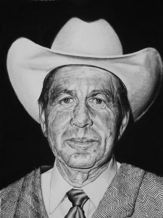 "Andrew Tift  ""Bob Padilla (Santa Fe Cowboy)""  Charcoal, carbon graphite on paper  58.5 x 48 cm"