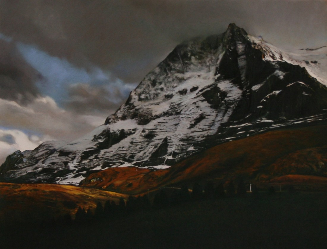 "Andrew Hemingway ""The Eiger Shadow"" Pastel on paper 49 x 63 cm"