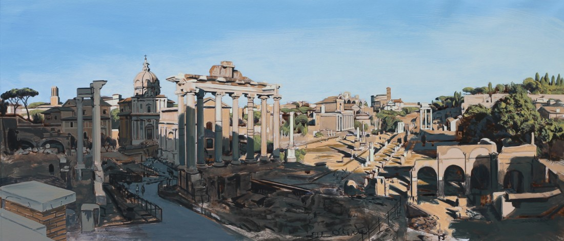 "David Wheeler ""Study: The Forum, Rome (late afternoon), 2013"" 28 x 63.5 cm Acrylic on paper"