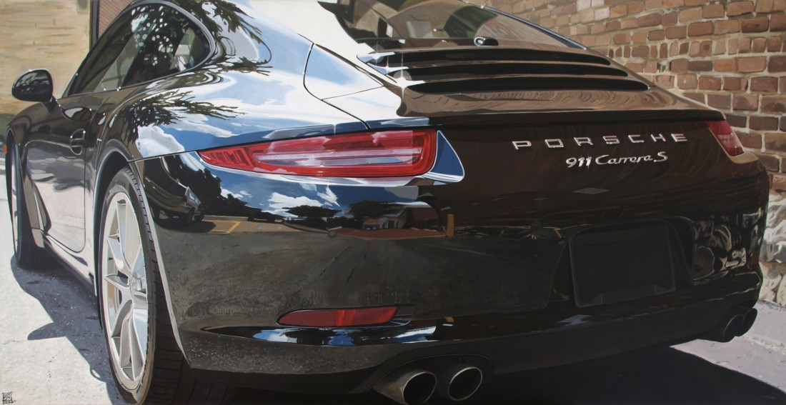 """Porsche 911 Carrera S"" Acrylic on Canvas 70 x 140 cm"