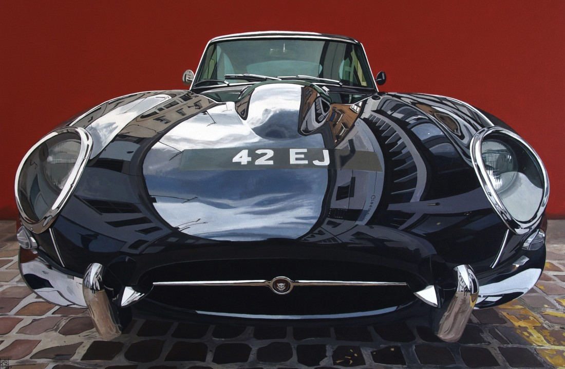 """Jaguar E-Type"" Acry;ic on canvas 65 x 92 cm"