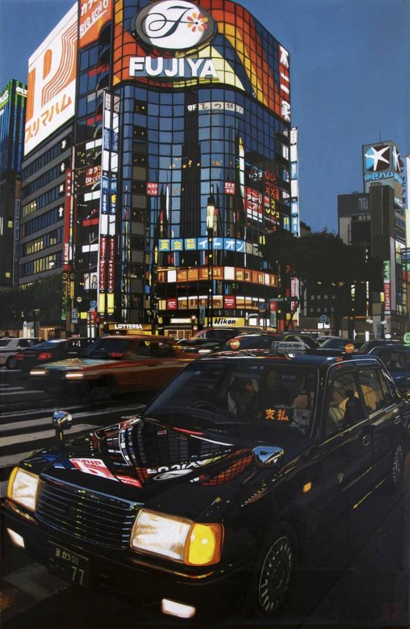 """Nighthawks/ Tokyo"" Acrylic on canvas 46 x 30 cm"