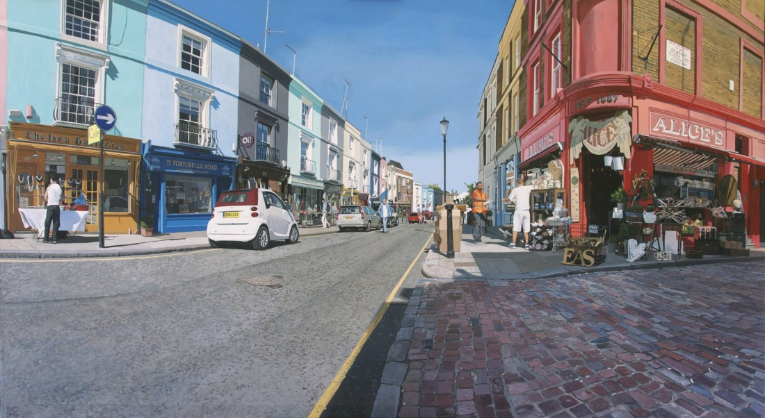 """Portobello Road 9:47 am"" Acrylic on canvas 100 x 180 cm"